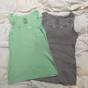 Faded Glory lace trim tank tops sz Lg